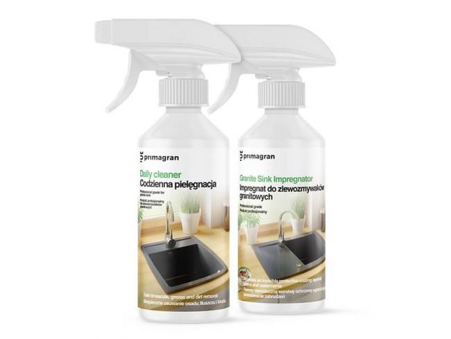 Set: Imprägniermittel und Produkt zur Pflege für Granitspülen
