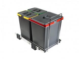 Ausziehbarer Müllsortierer 3 Körbe 34l Elletipi