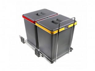 Ausziehbarer Müllsortierer 2 Körbe 36l Elletipi