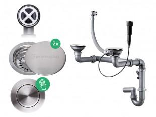 Der automatische Pop-up Raumsparsiphon für Doppelspüle +Abflussdeckel aus Edelstahl